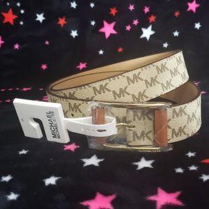 NEW Michael Kors Womens Tan/Brown Logo Belt